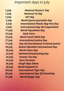 Read more about the article List of Important days in July 2021