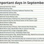 List of important days in September 2021